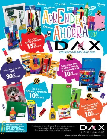 Aprende y ahorra con Dax, Ferias Escolares Dax 2018
