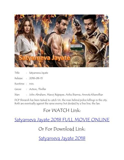 hindi movie satyamev jayate watch online
