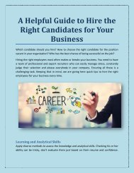 A Helpful Guide to Hire the Right Candidates for Your Business
