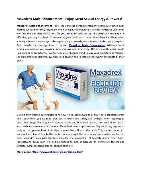 Maxadrex Male Enhancement - Boost Size, Stamina & Sex Drive Easily!