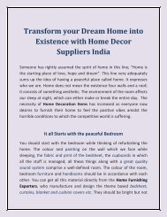 Transform your Dream Home into Existence with Home Decor Suppliers India