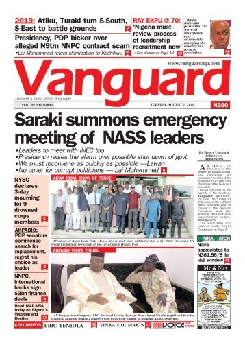 07082018 - Saraki summons emergency meeting of NASS leaders