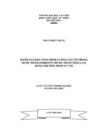 ĐÁNH GIÁ KHẢ NĂNG ĐỊNH LƯỢNG SẮT CÓ TRONG DƯỢC PHẨM FERROVIT (DƯỢC PHẨM THÁI LAN) BẰNG PHƯƠNG PHÁP UV-VIS
