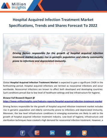 Hospital Acquired Infection Treatment Market Specifications, Trends and Shares Forecast To 2022