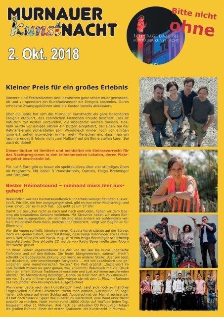 Open air Programm Murnauer Kunstnacht 2018