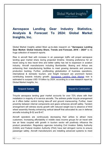 Aerospace Landing Gear Market By Application, Growth Potential & Forecast, 2018 – 2024