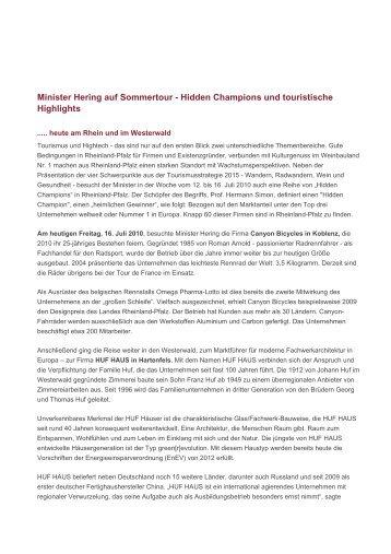 Minister Hering auf Sommertour - Hidden Champions ... - HUF HAUS