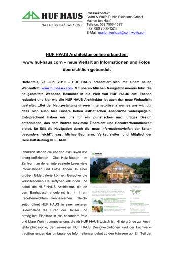 HUF HAUS mit neuer Homepage online