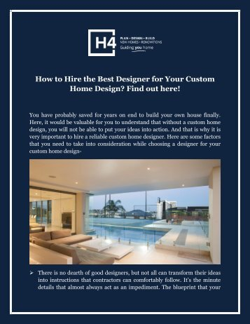 How to Hire the Best Designer for Your Custom Home Design? Find out here!