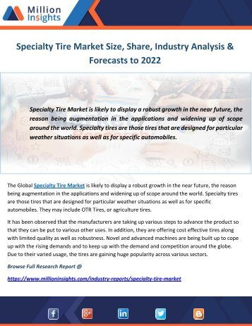 Specialty Tire Market Size, Share, Industry Analysis & Forecasts to 2022