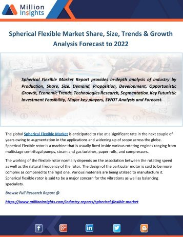 Spherical Flexible Market Share, Size, Trends & Growth Analysis Forecast to 2022