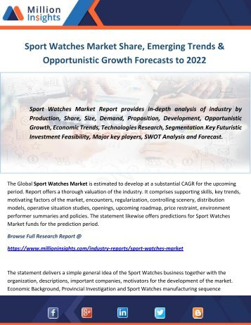 Sport Watches Market Share, Emerging Trends & Opportunistic Growth Forecasts to 2022
