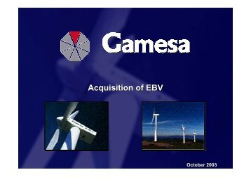Acquisition of EBV - Gamesa