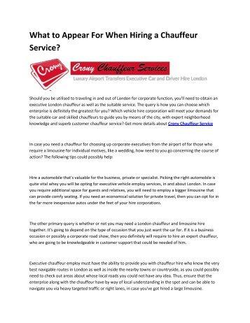8 Crony Chauffeur Service
