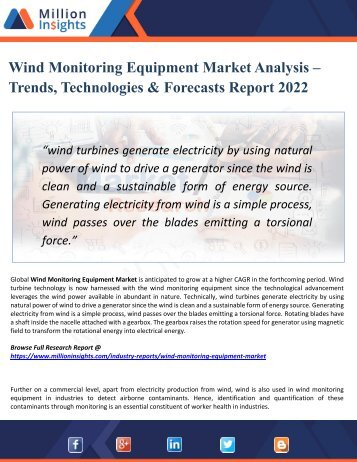Wind Monitoring Equipment Market Outlook 2022 - Industry Analysis, Opportunities, Segmentation and Forecast