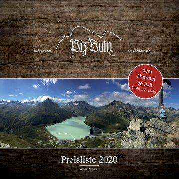 Berggasthof Piz Buin - Preisliste 2018/2019