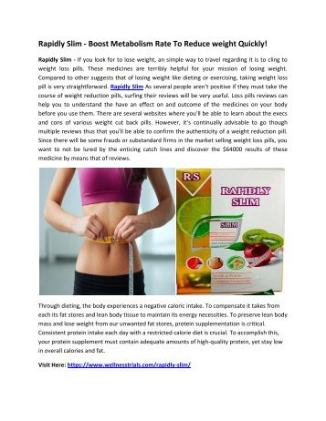 Rapidly Slim - Boost Metabolism Rate To Reduce weight Quickly!