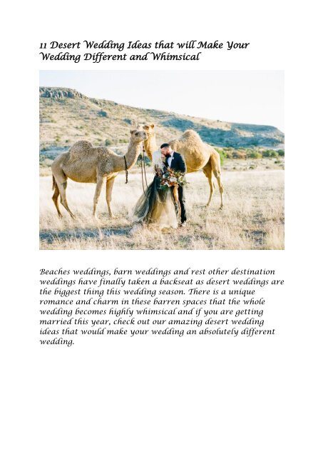 11 Desert Wedding Ideas That Will Make Your Wedding Different And