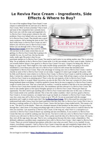Le Reviva Face Cream - It helps to look Younger skin