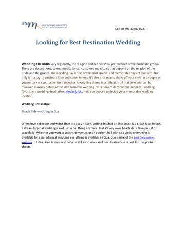 Looking for Best Destination Wedding