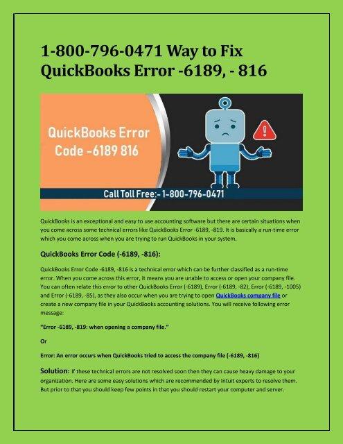 1-800-796-0471 Way to Fix QuickBooks Error -6189, - 816