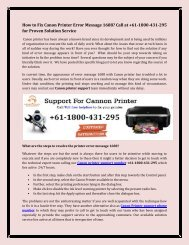 How to Fix Canon Printer Error Message 1688? Call at +61-1800-431-295 for Proven Solution Service