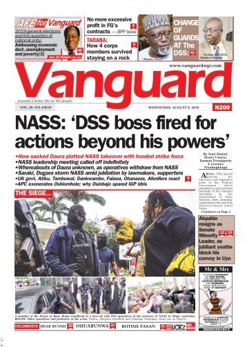 08082018 - NASS: 'DSS boss fired for actions beyond his powers'