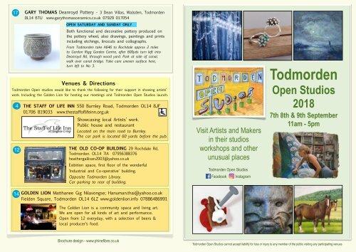 2018 Brochure for Todmorden Open Studios  on 7th, 8th 9th September