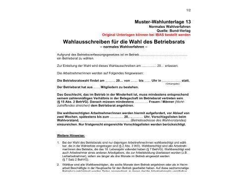 Wahlausschreiben Fur Die Wahl Des Betriebsrats Ibas Krefeld