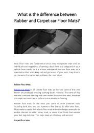 What is the difference between Rubber and Carmats