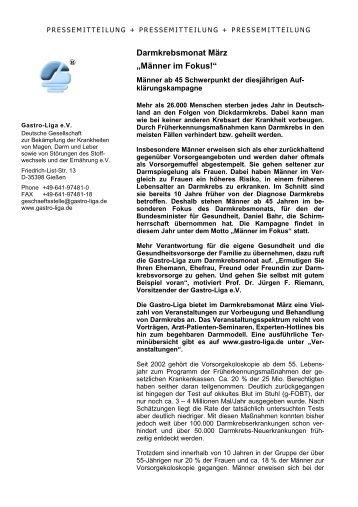 """Darmkrebsmonat März """"Männer im Fokus!"""" - Gastro Liga"""