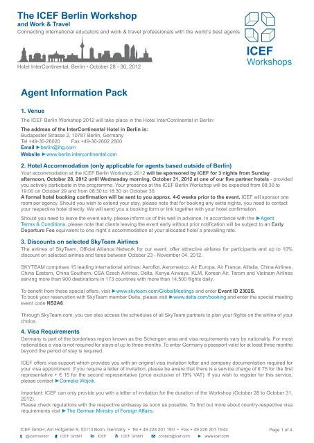 Agent Information Pack The ICEF Berlin Workshop