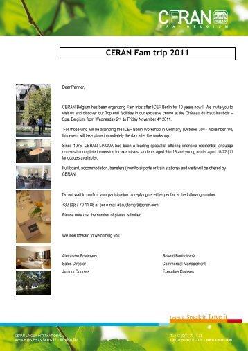 CERAN Fam trip 2011 - Registration Agency name : Address - ICEF
