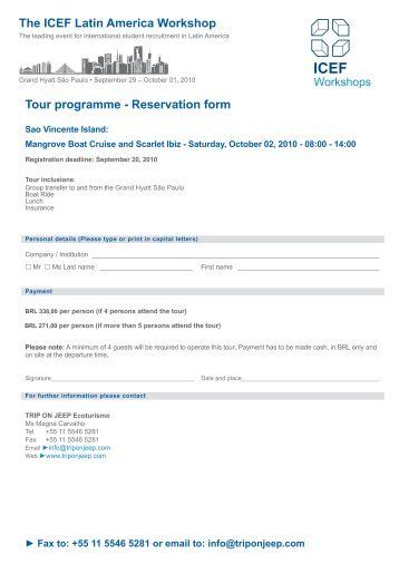 Tour Programme   Reservation Form   ICEF