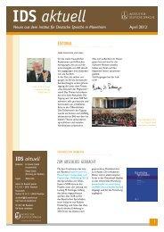 IDS aktuell April 2012 - Institut für Deutsche Sprache