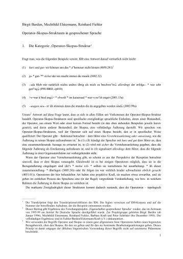 Operator-Skopus-Strukturen in gesprochener Sprache - Institut für ...