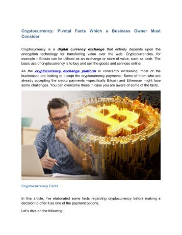 Cryptocurrency - Pivotal Facts Which a Business Owner Must Consider