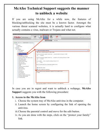 McAfee Technical Support suggests the manner to unblock a website