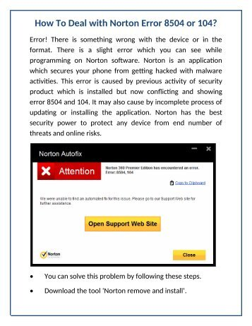 How To Deal With Norton Error 8504 or 104?