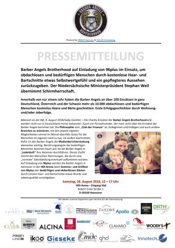 Pressemitteilung Barber Angels Hannover_96plus August 2018