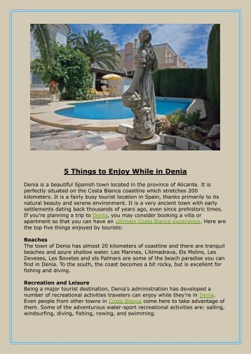 5 Things to Enjoy While in Denia