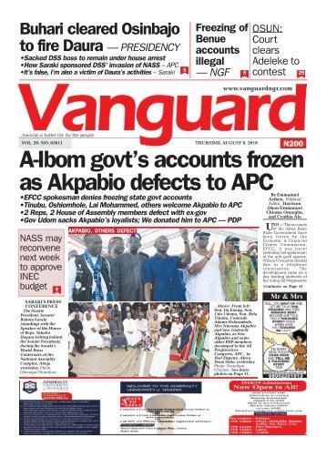 09082018 - A-Ibom govt's accounts frozen as Akpabio defects to APC