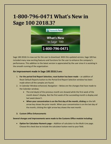 1-800-796-0471 What's New in Sage 100 2018.3? Download & Upgrade To Sage