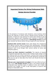 Important Factors For Hiring Professional Web Design Service Provider