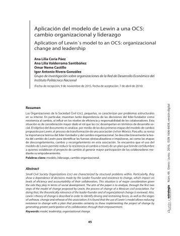 Aplicacion del modelo de Lewin Cambio organizacional y liderazgo