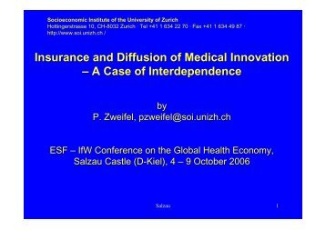 Insurance and Diffusion of Medical Innovation – A Case of ...