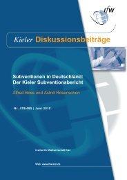 Der Kieler Subventionsbericht - Institut für Weltwirtschaft