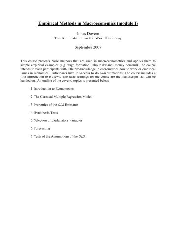 Empirical Methods in Macroeconomics (module I)