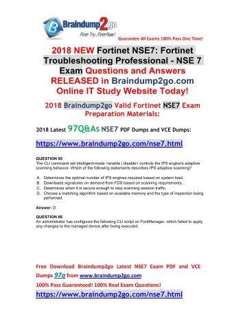 [2018-August-New]Braindump2go NSE7 Dumps VCE 97Q&As Free Version(85-97)