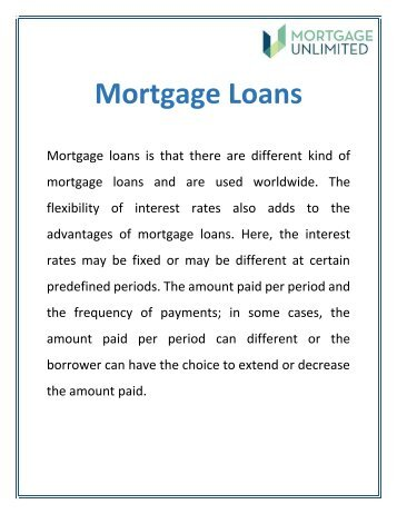 Mortgage Loans | Home Loan Service - Mucloan